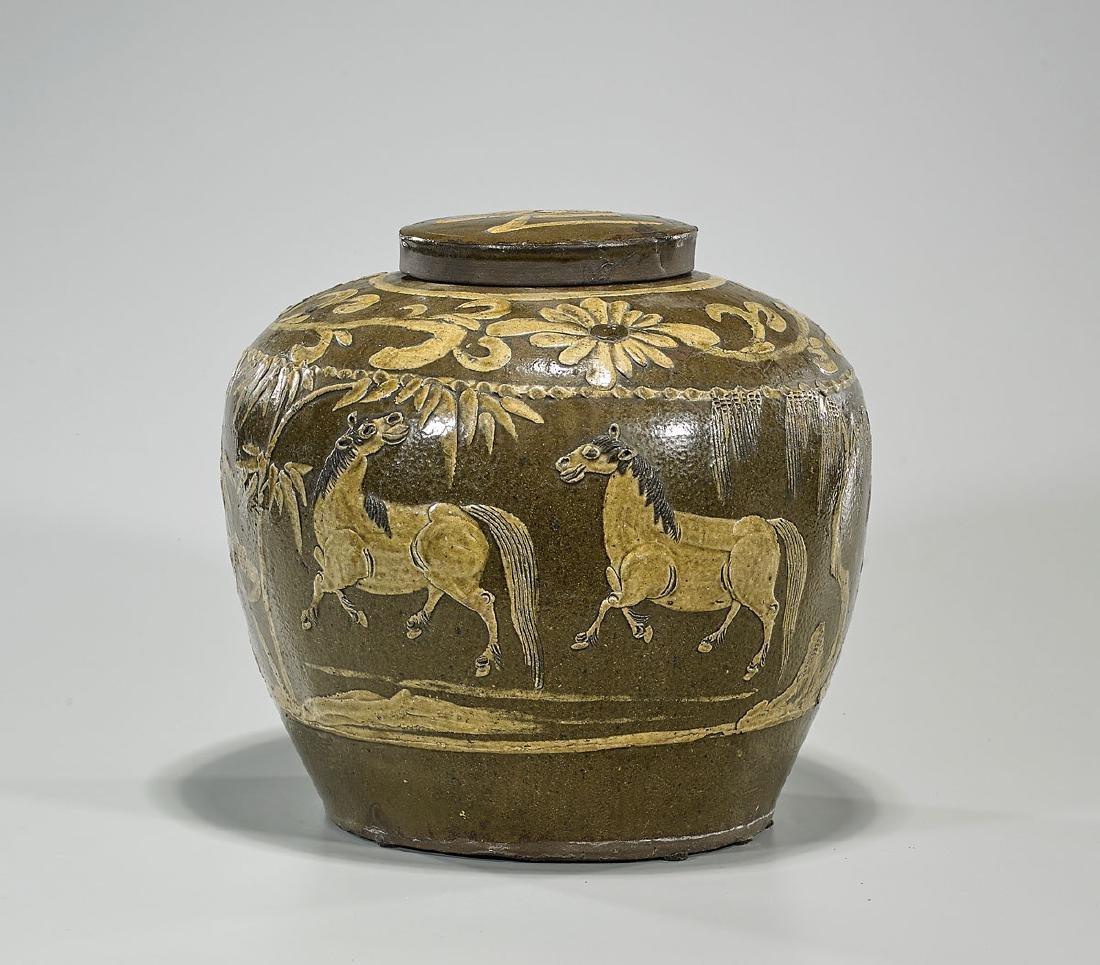 Antique Chinese Glazed Pottery Jar