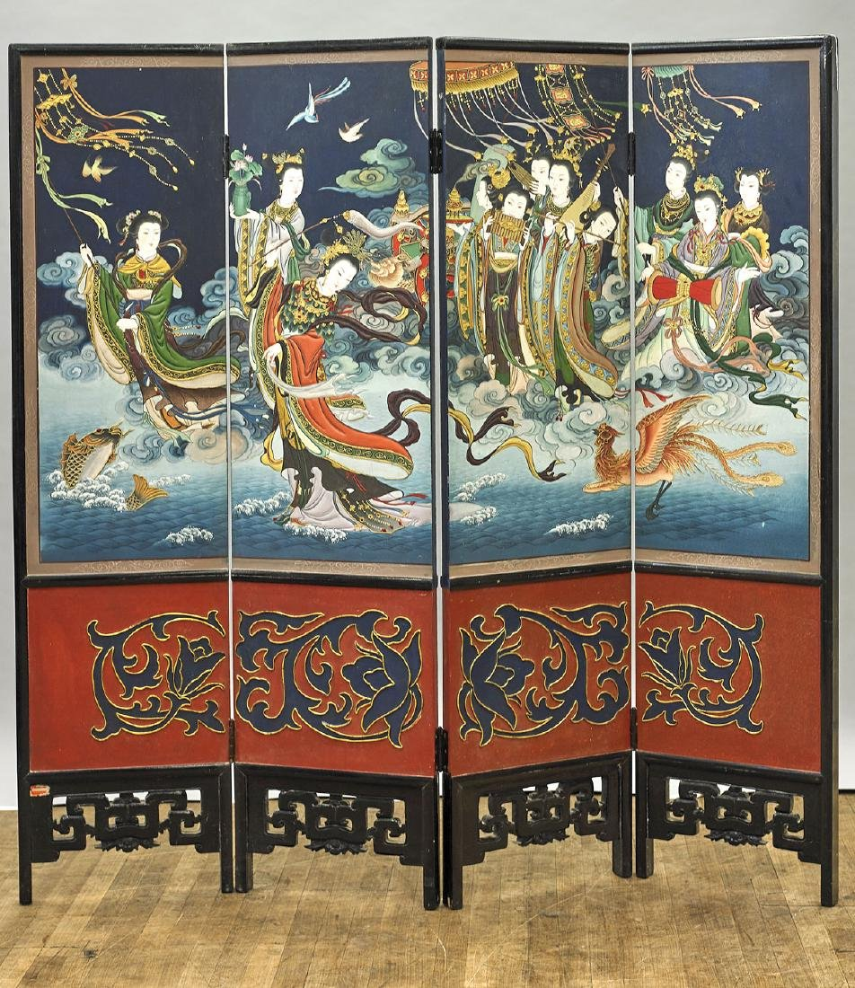 Chinese Four-Panel Painted Screen