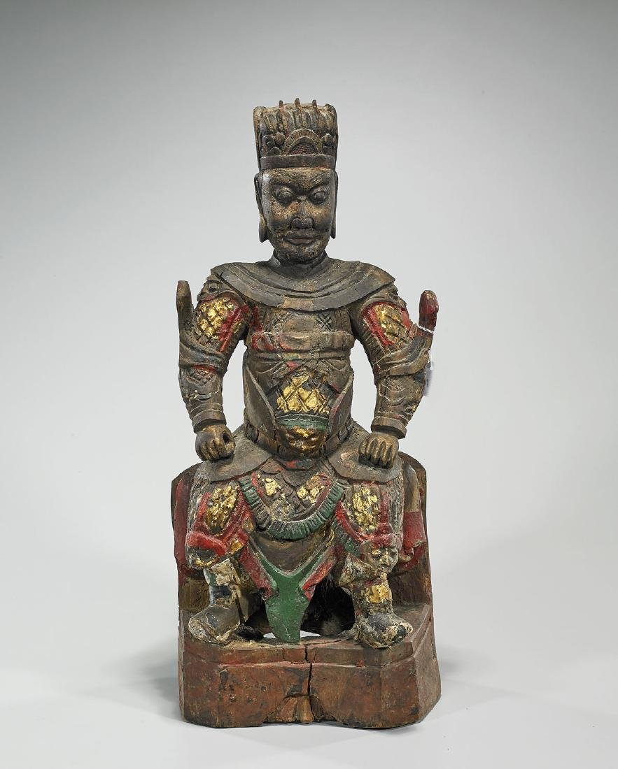 Antique Chinese Polychrome Wood Figure of Guandi