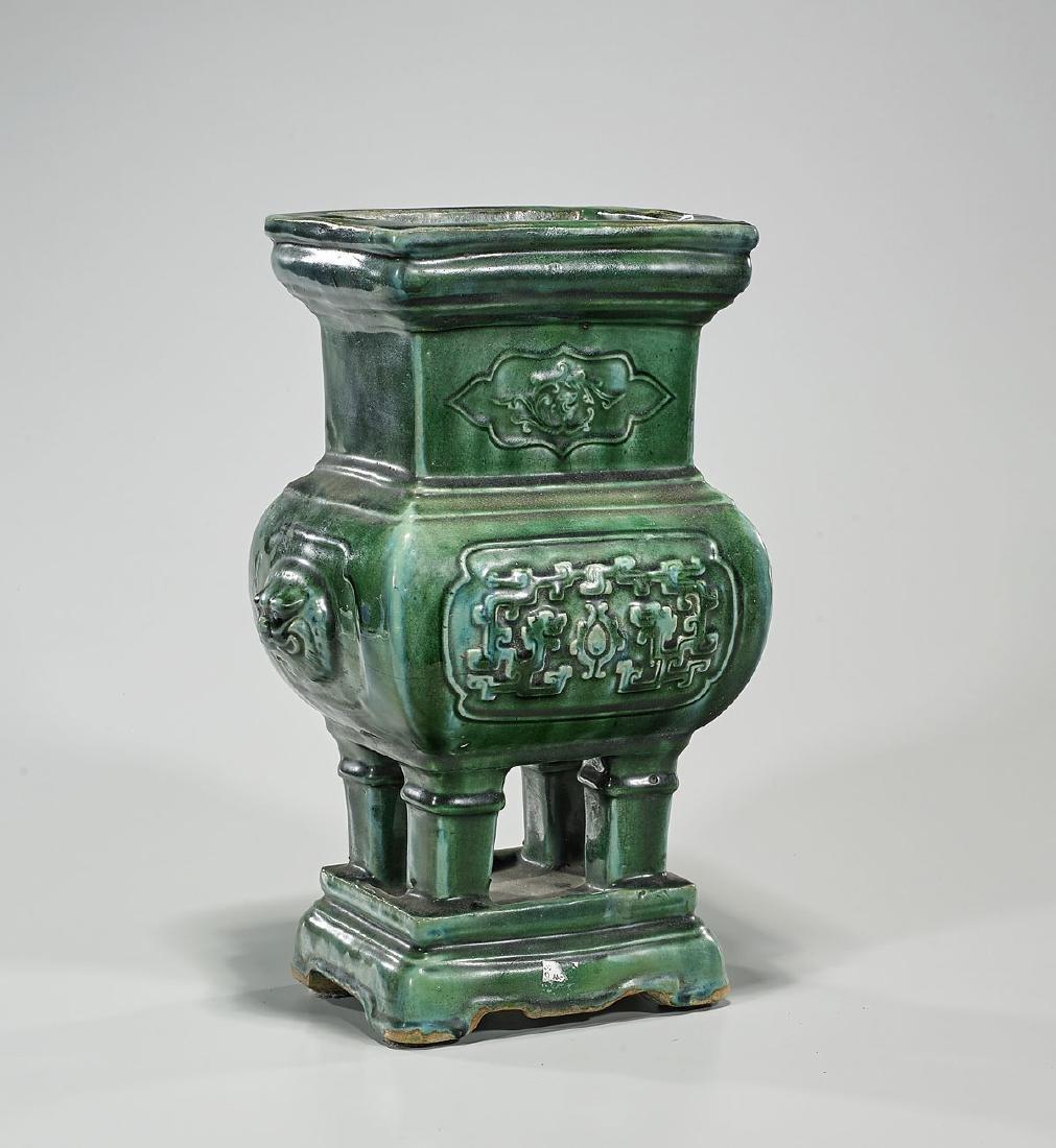 Antique Chinese Green Glazed Censer