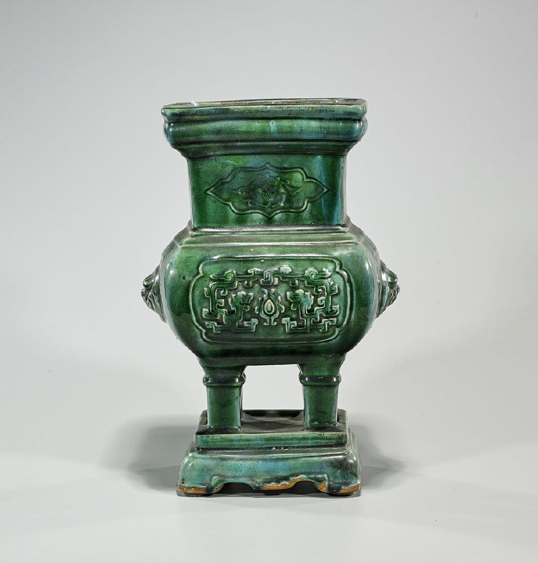 Antique Chinese Green Glazed Censer - 2