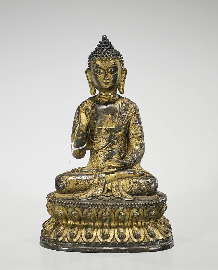 Sino-Tibetan Gilt Bronze Seated Buddha