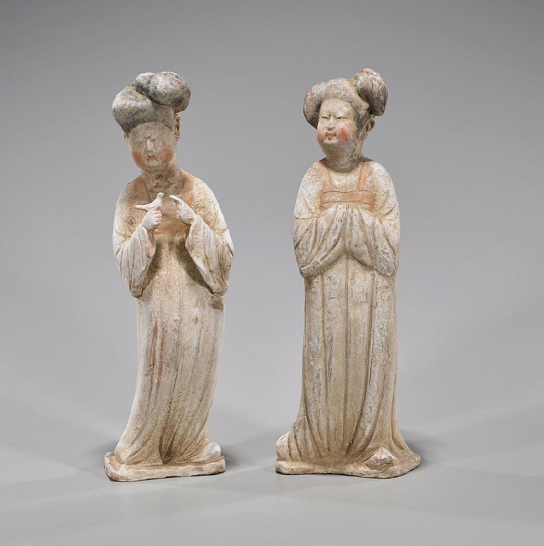 Pair Chinese Tang Dynasty Pottery Figures of Court