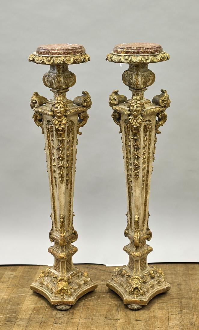 Pair Antique Gilt & Polychrome Pedestals