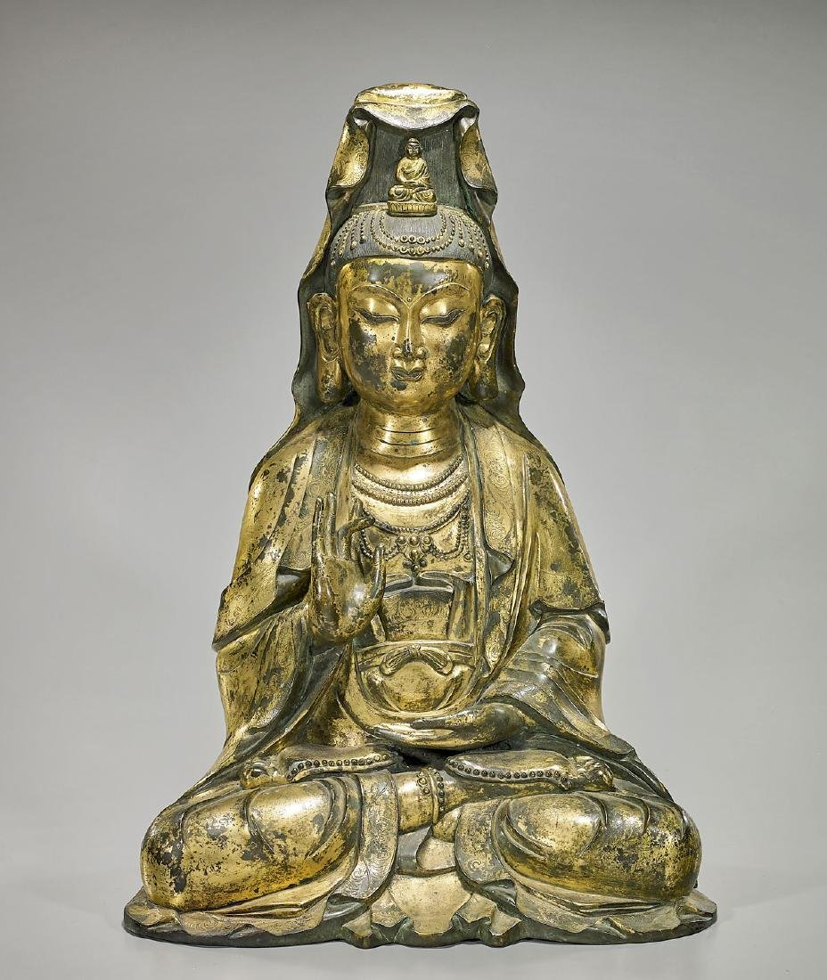 Large Chinese Ming-Style Gilt Bronze Seated Figure