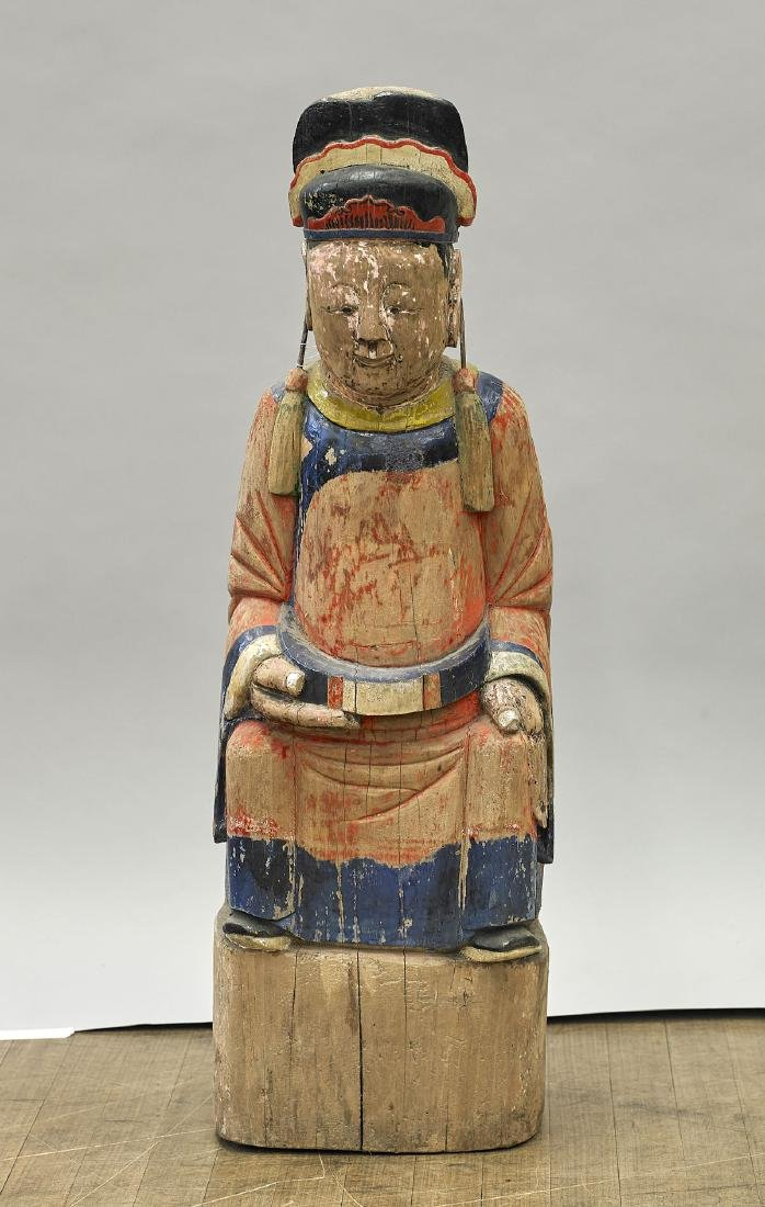 Antique Chinese Polychrome Wood Figure of an Official