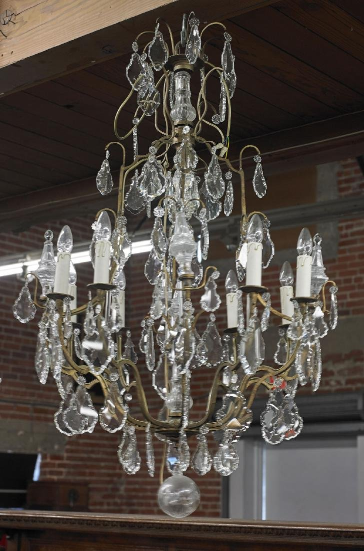 Bronze & Crystal-Glass Chandelier