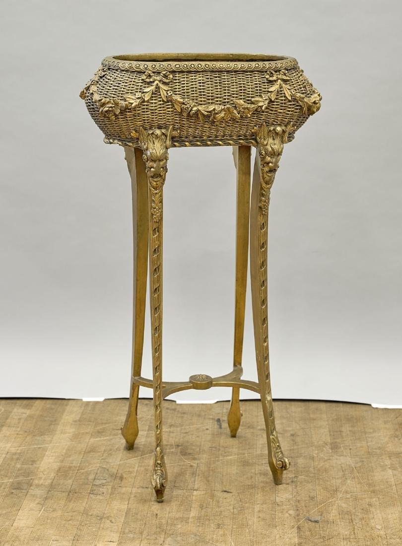 Antique French Gilt Wood & Wicker Flower Basket