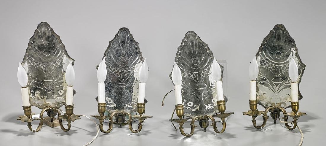 Set of Four Antique Venetian Glass & Brass Wall Sconces