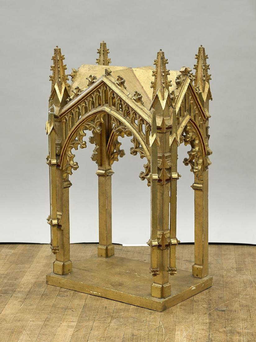 Tall Antique Gothic-Style Gilt Wood Shrine