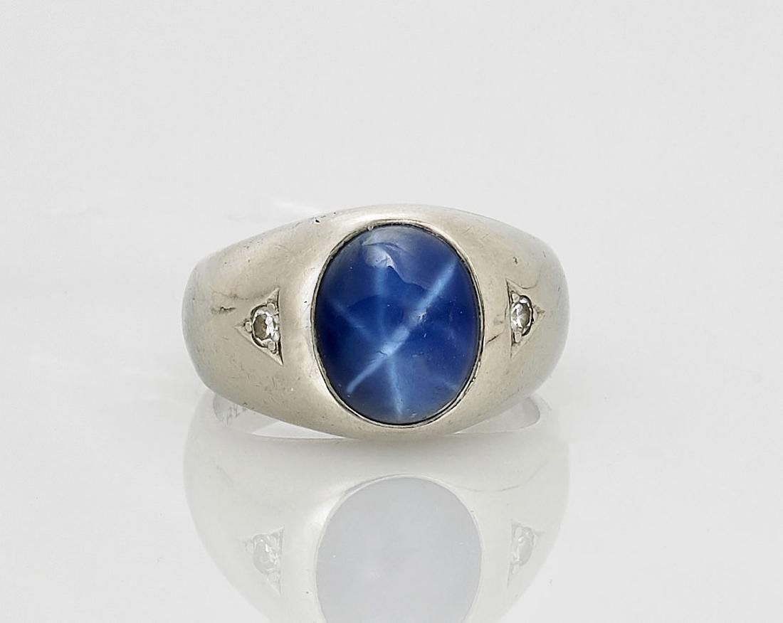 14K White Gold, Star Sapphire & Diamond Ring