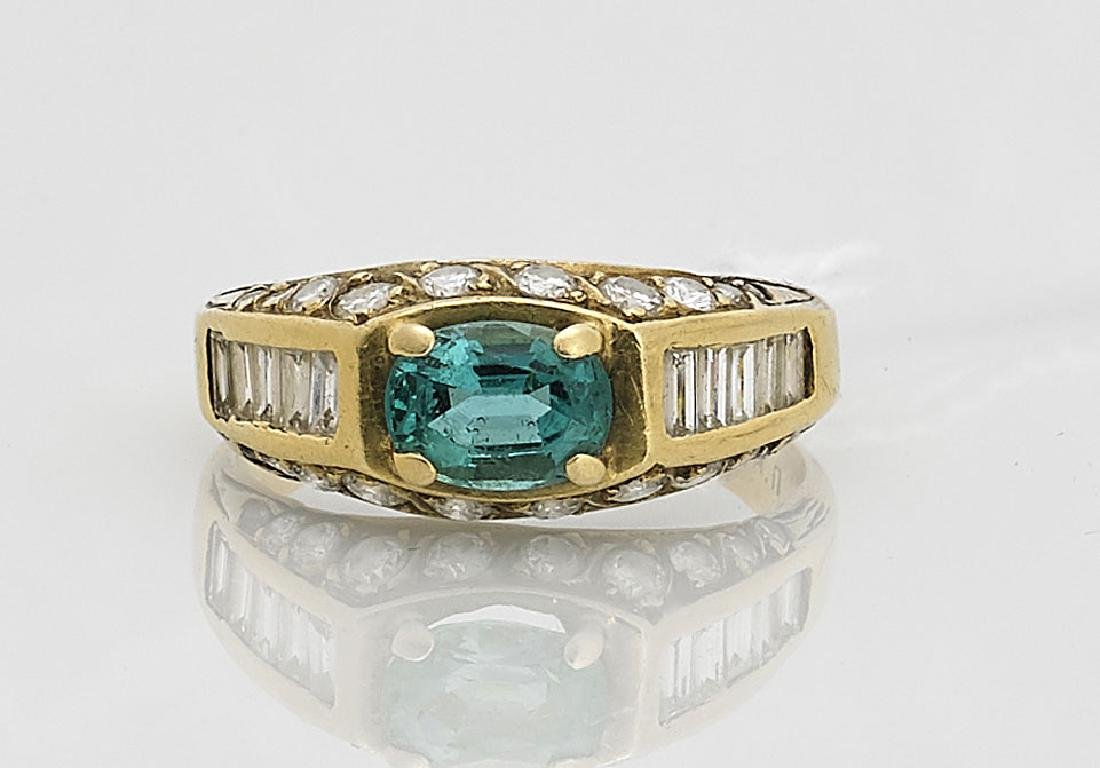 18K Yellow Gold, Diamond & Gemstone Ring