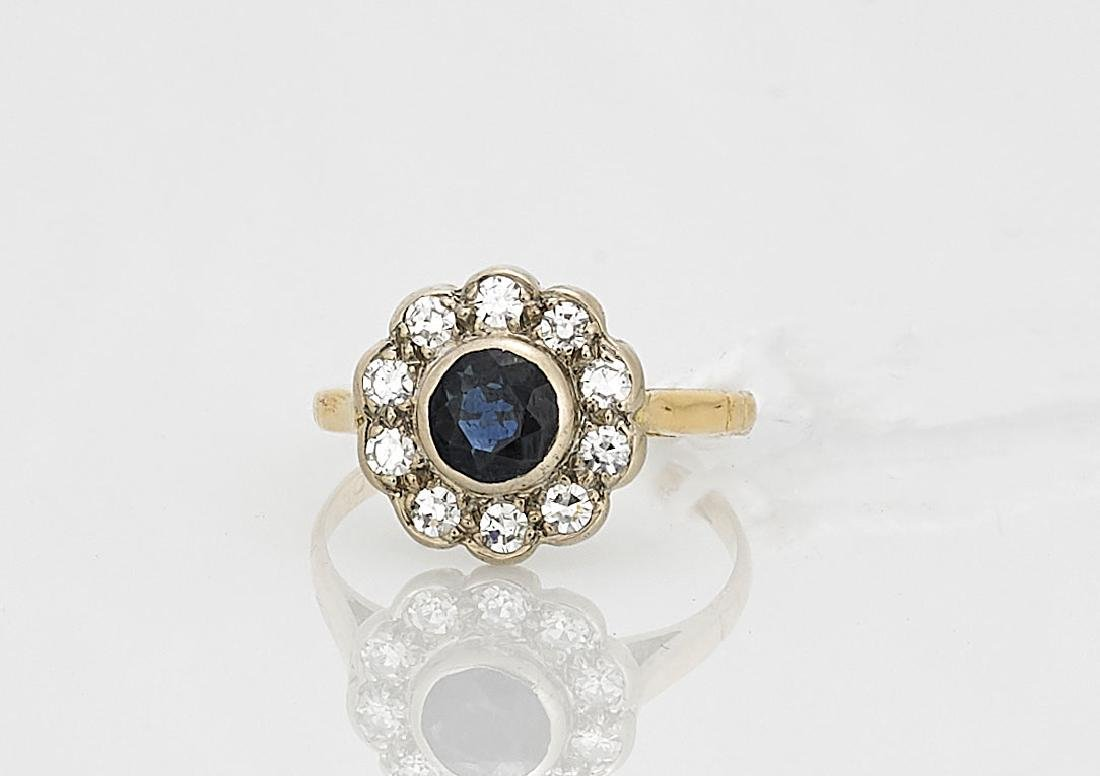 18K Yellow Gold, Sapphire & Diamond Ring