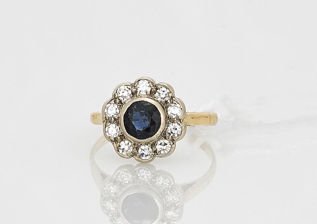 18K Yellow Gold, Sapphire & Diamond Ring