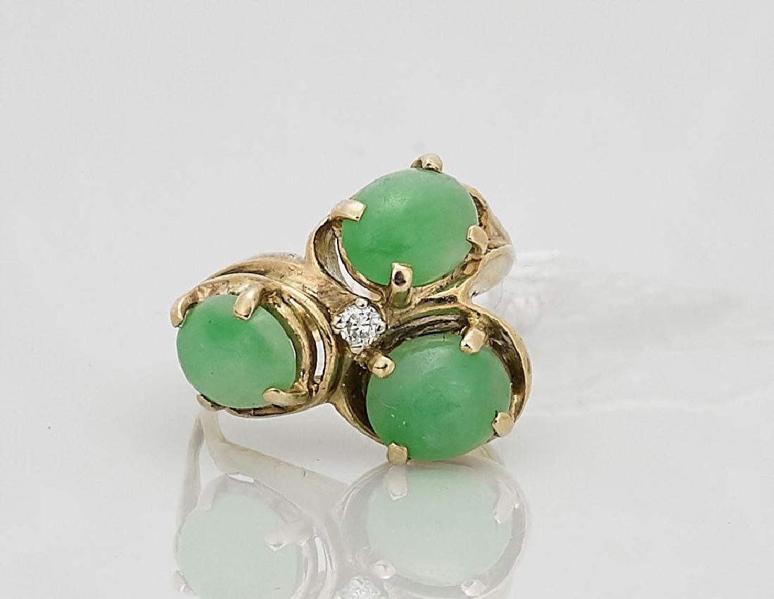 14K Yellow Gold, Jadeite & Diamond Ring