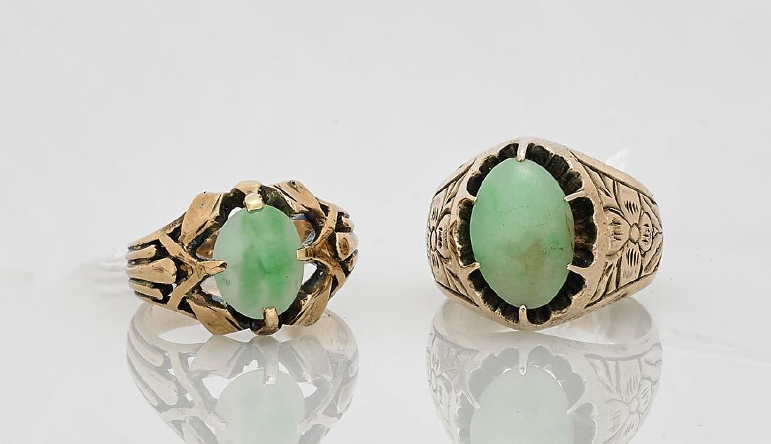 Two 14K Yellow Gold & Jadeite Rings