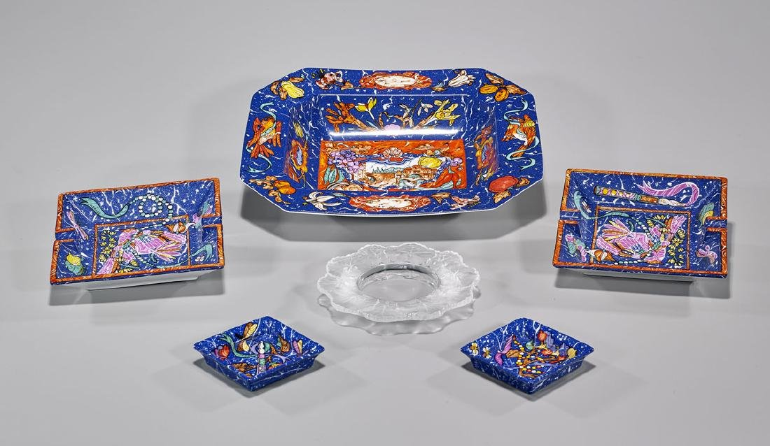 Group of Six Tableware Pieces: Hermes & Lalique