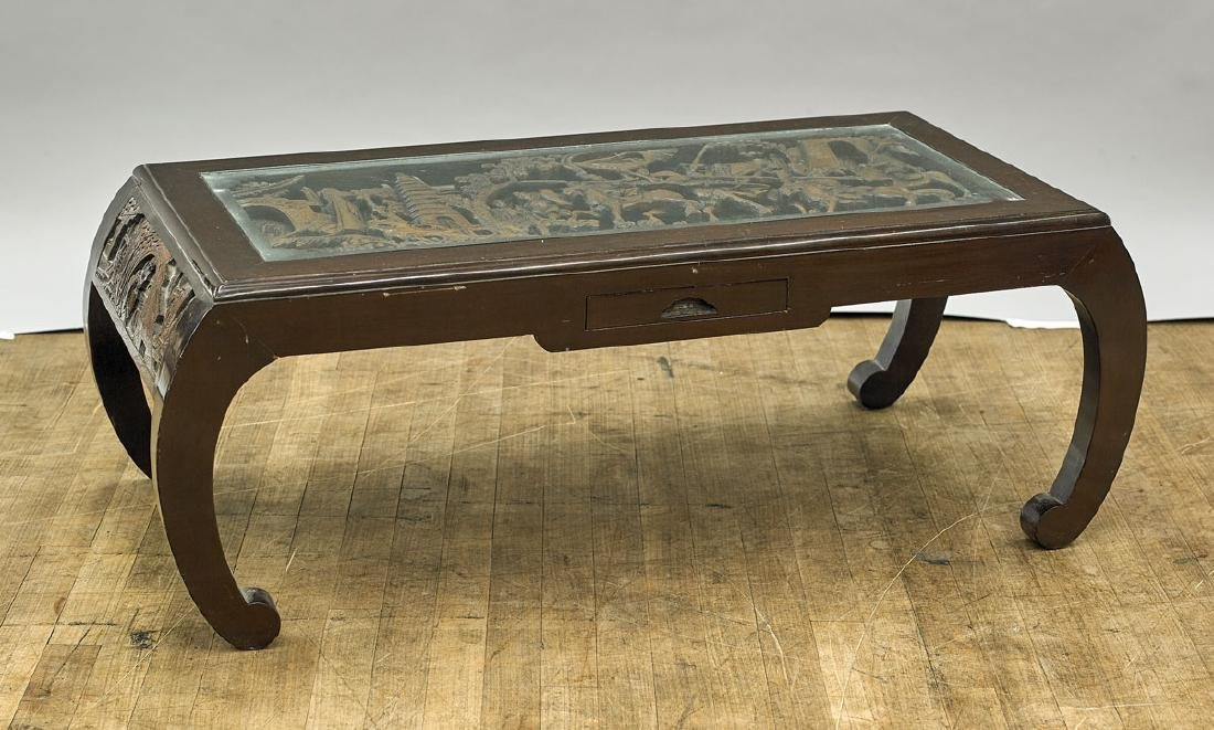 Old Chinese Carved Low Wood Table