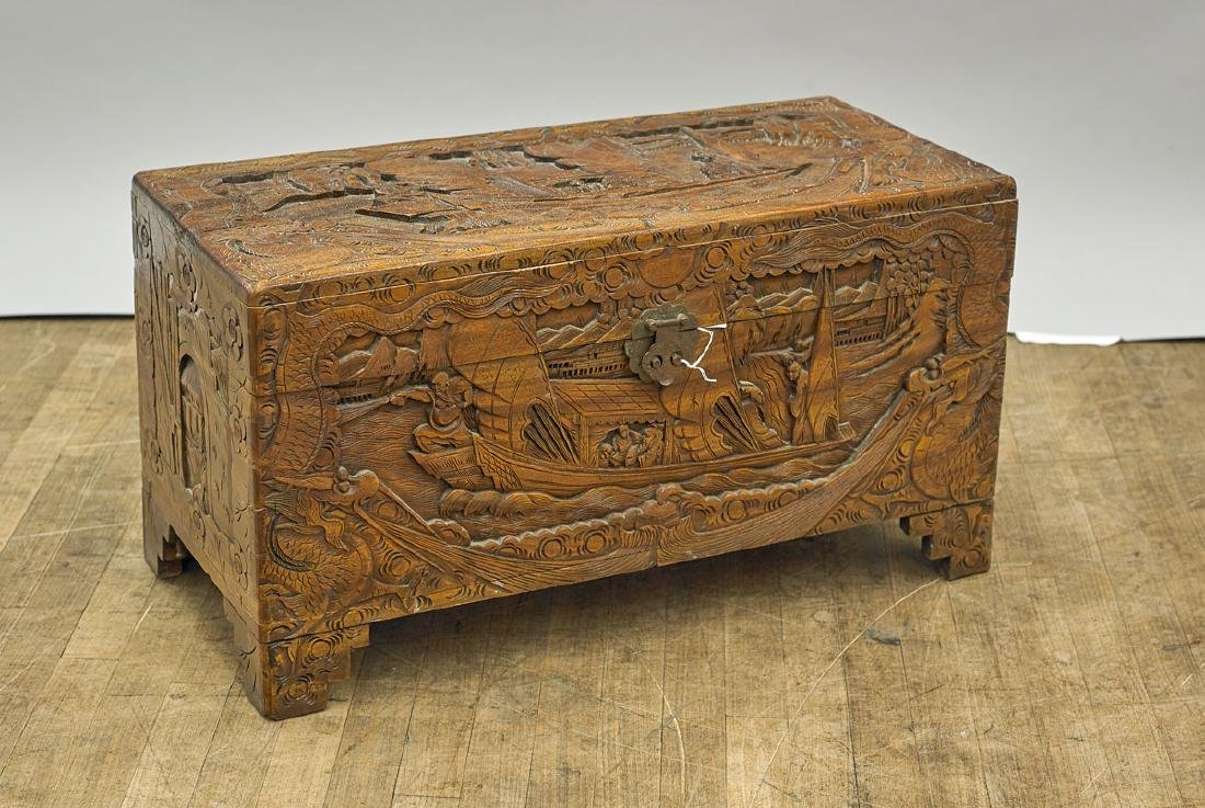 Old Chinese Carved Wood Blanket Chest