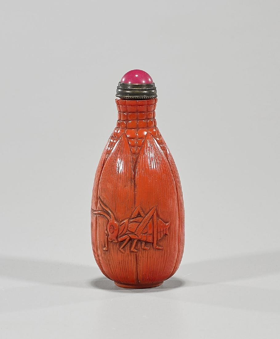 Chinese Glass-Imitating-Coral Snuff Bottle