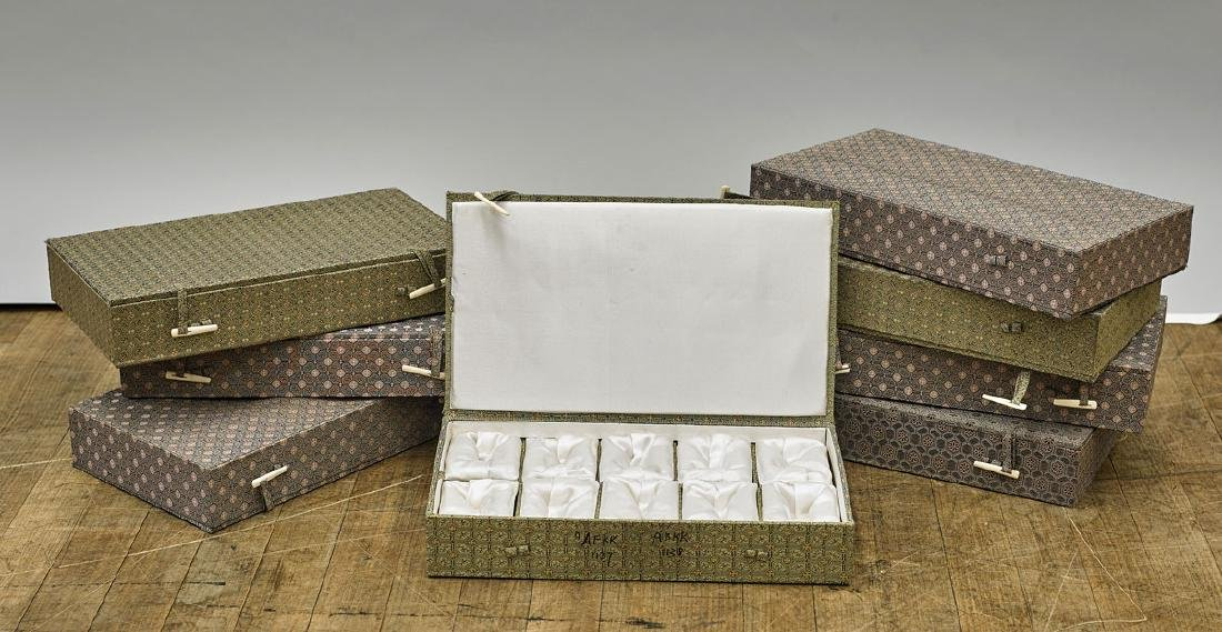 Group of Eight Fitted Snuff Bottle Boxes
