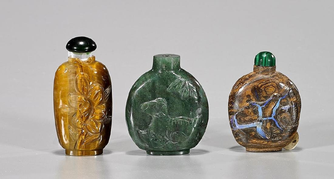 Three Chinese Carved Snuff Bottles