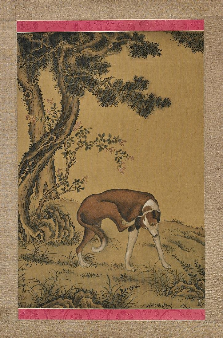 Chinese Silk Scroll After Giuseppe Castiglione