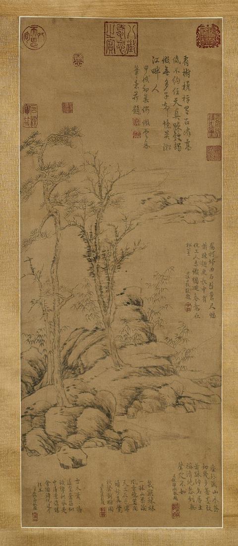 Chinese Silk Scroll After Ni Zan
