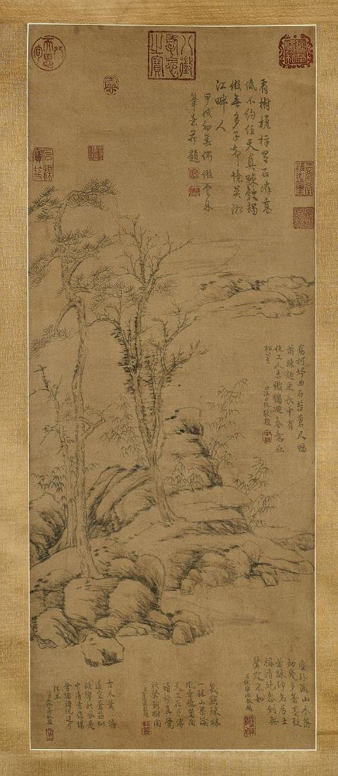 Chinese Silk Scroll After Ni Zan