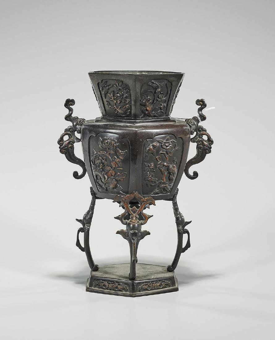 Japanese Meiji Period Bronze Sectional Vase