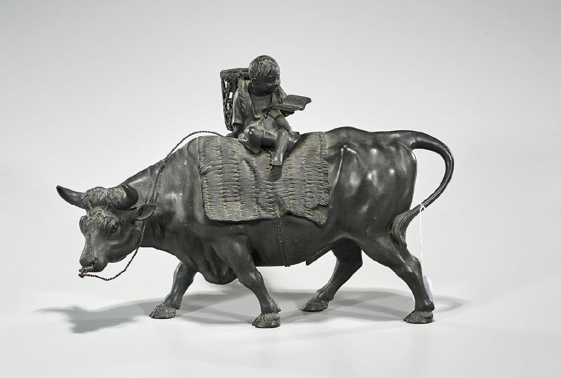 Chinese Bronze Model of a Bull With Boy Rider