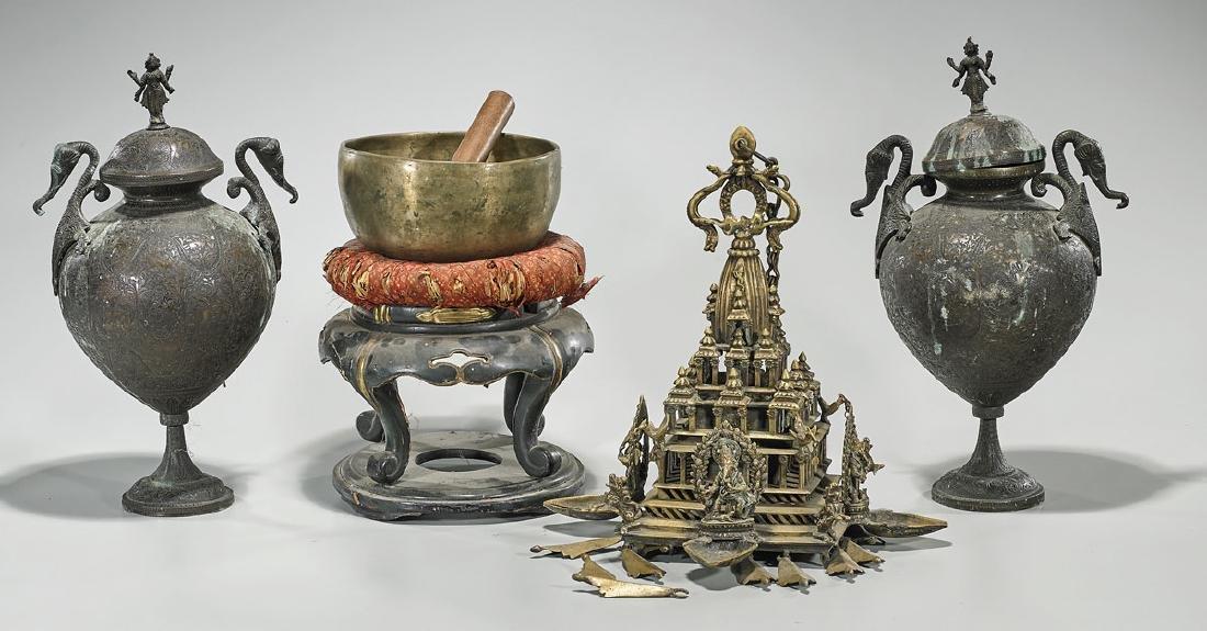Group of Four Various Asian Metalwork Pieces