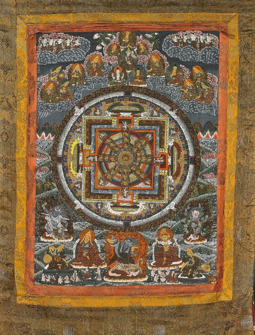 Old Sino-Tibetan Painted Thangka