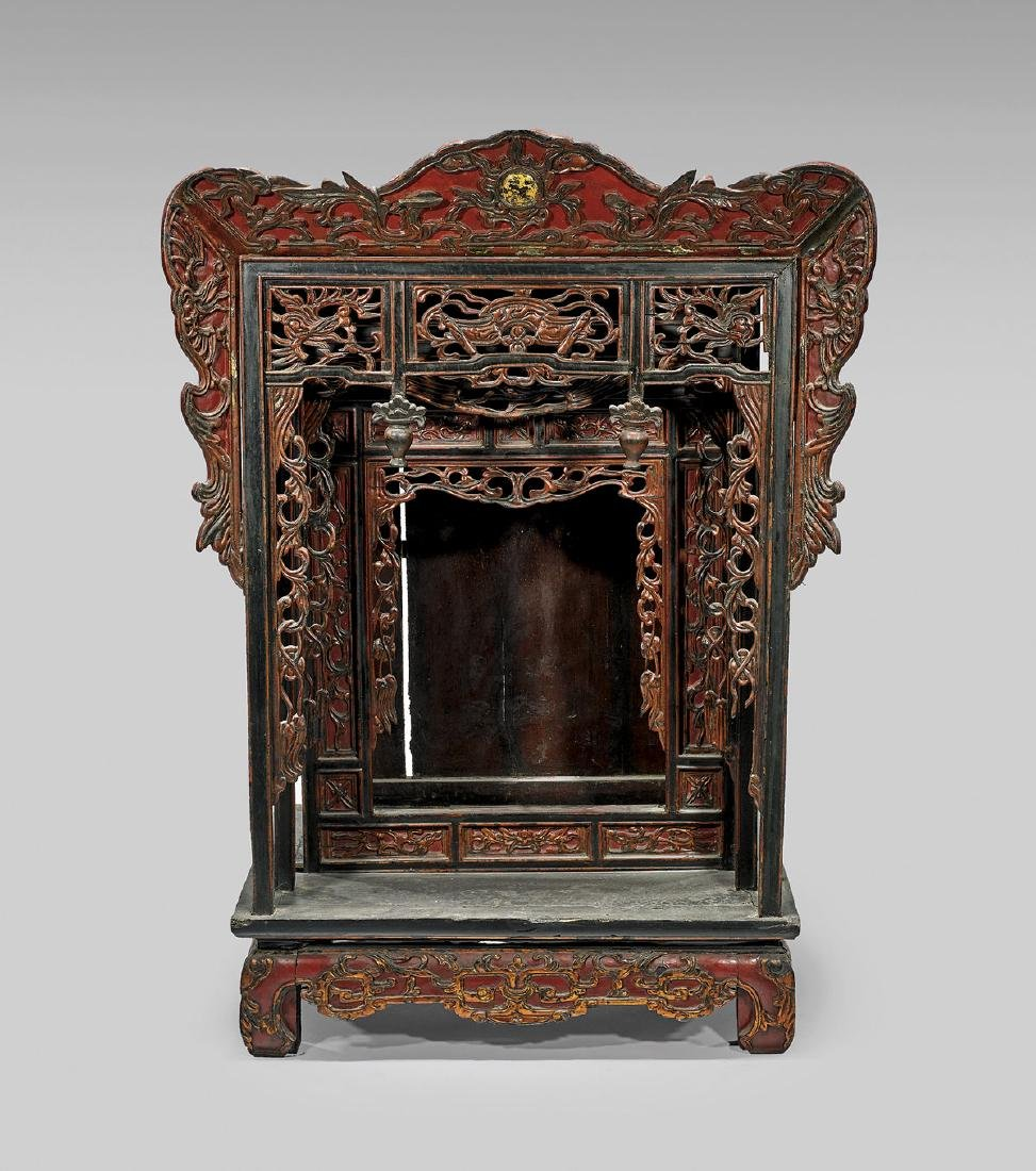 Large Antique Lacquered Wood Shrine