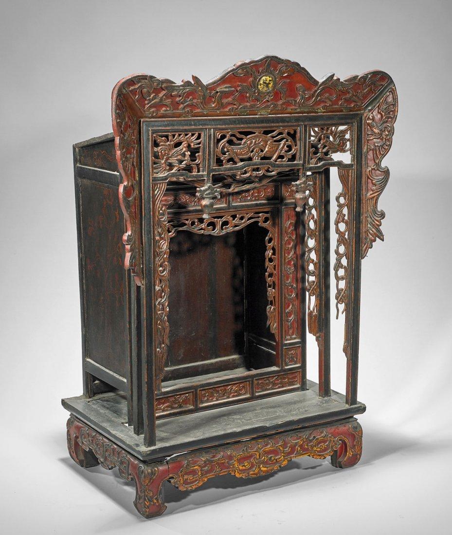 Large Antique Lacquered Wood Shrine - 2