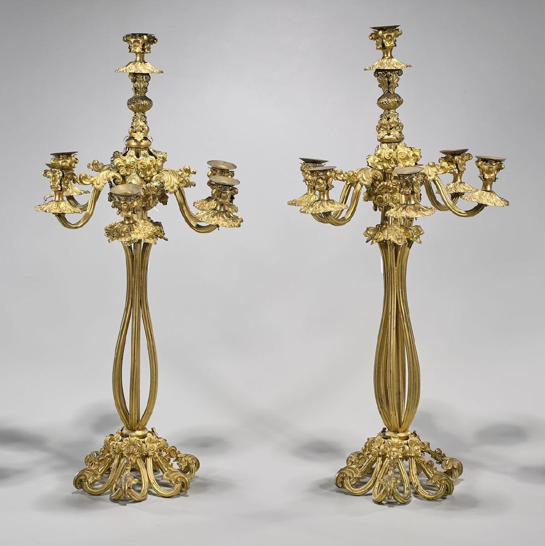 Pair Gilt Bronze Candelabras