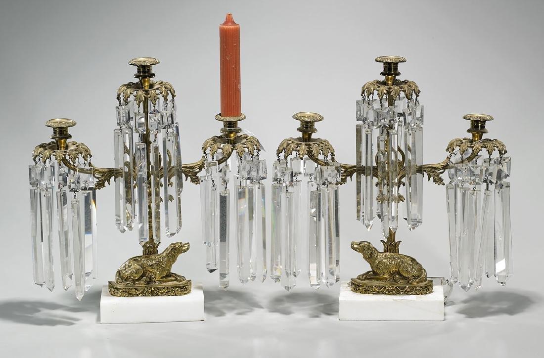 Pair Bronze & Crystal Three-Light Candelabra