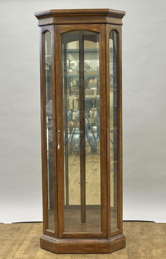 Wood & Glass Corner Display Cabinet