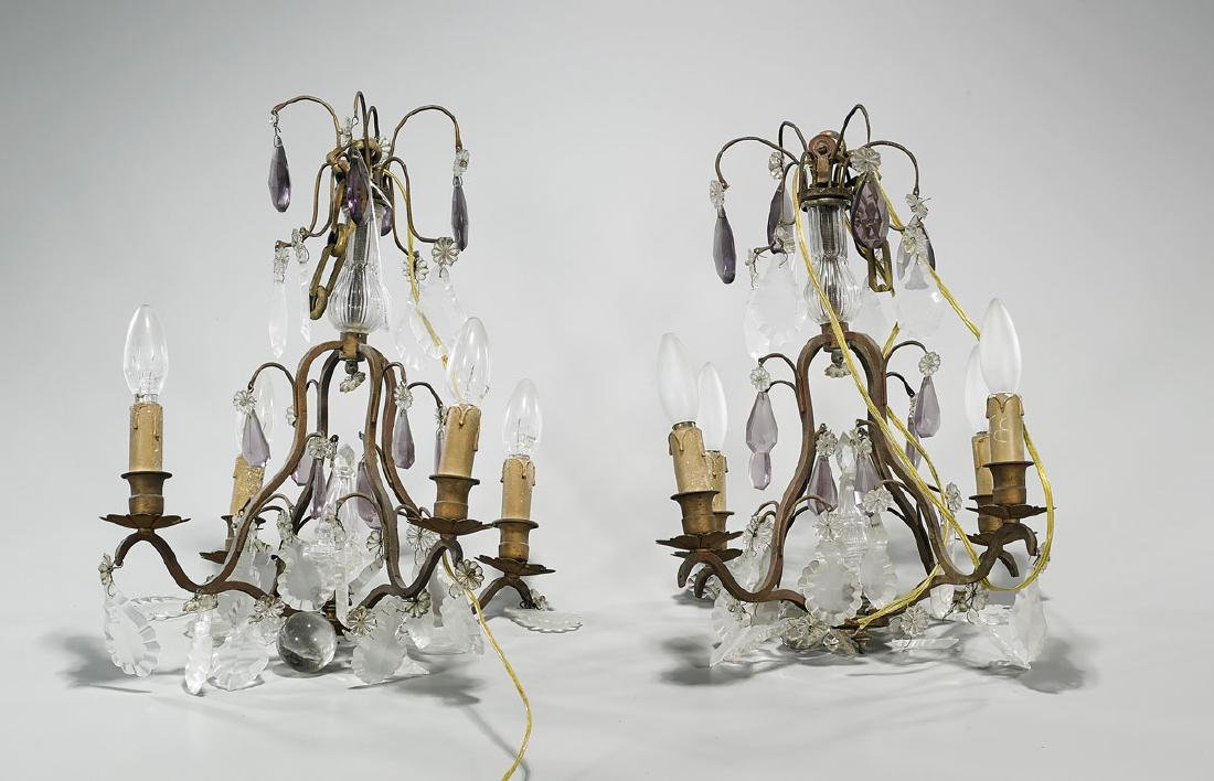 Pair Small Bronze & Glass Chandeliers