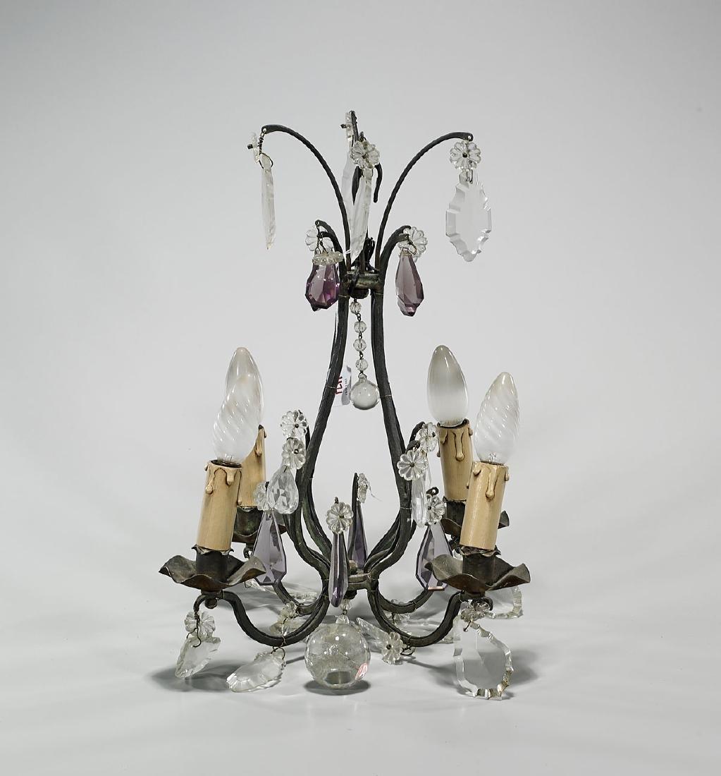 Small Bronze & Glass Chandelier