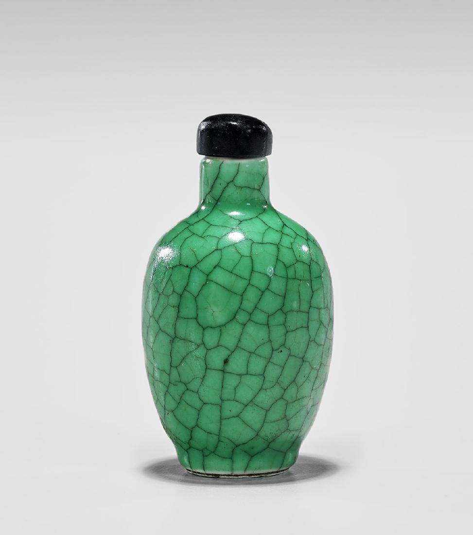 CRACKLE-GLAZED PORCELAIN SNUFF BOTTLE
