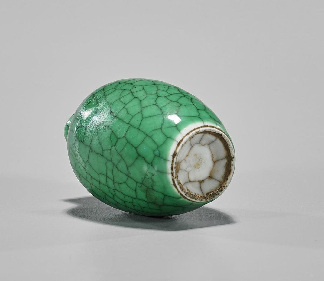 CRACKLE-GLAZED PORCELAIN SNUFF BOTTLE - 2