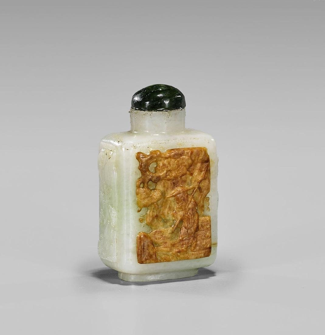 CHINESE CARVED JADEITE SNUFF BOTTLE - 2