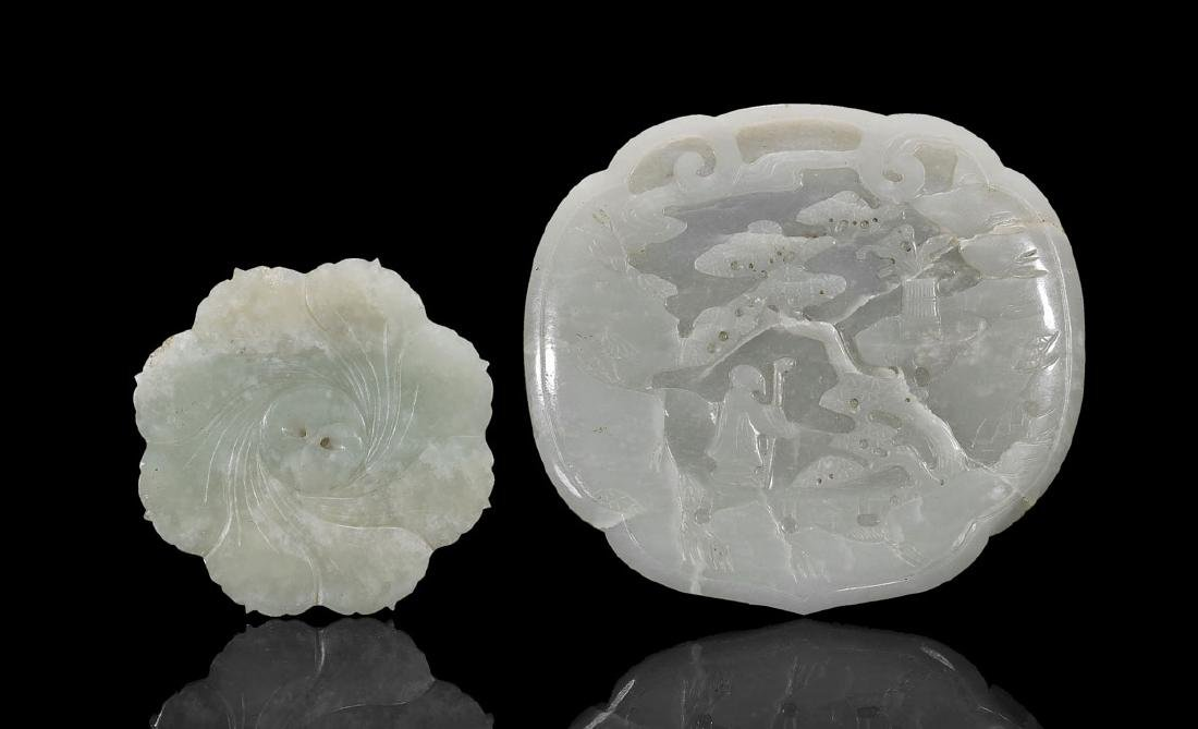TWO CHINESE CARVED JADE PLAQUES - 2