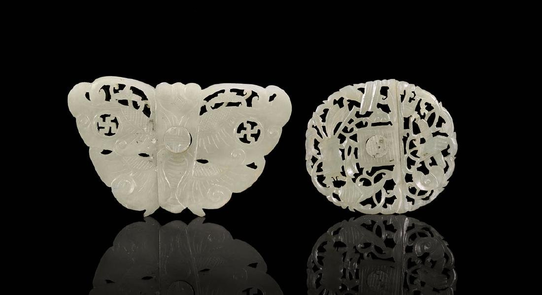 TWO CHINESE CARVED JADE BUCKLES