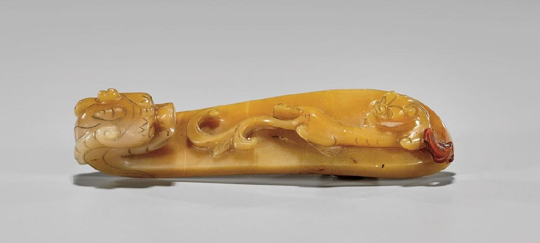 CHINESE CARVED JADE BELT HOOK