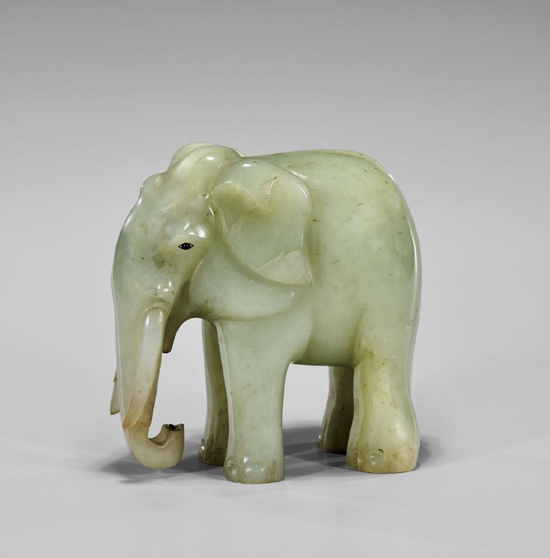 LARGE MUGHAL-STYLE CARVED JADE ELEPHANT