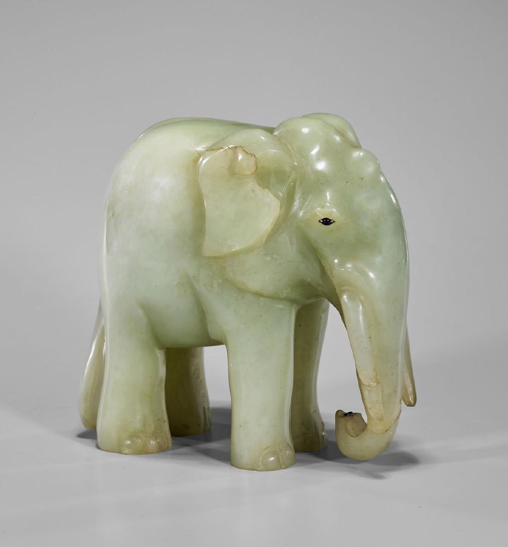 LARGE MUGHAL-STYLE CARVED JADE ELEPHANT - 2