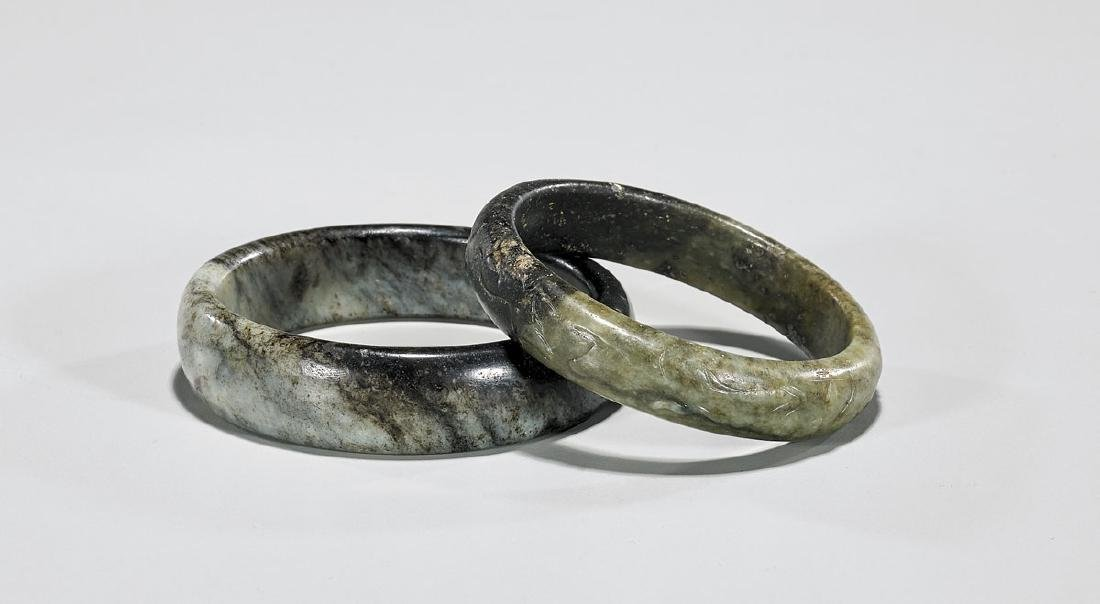 TWO MING DYNASTY JADE BANGLES