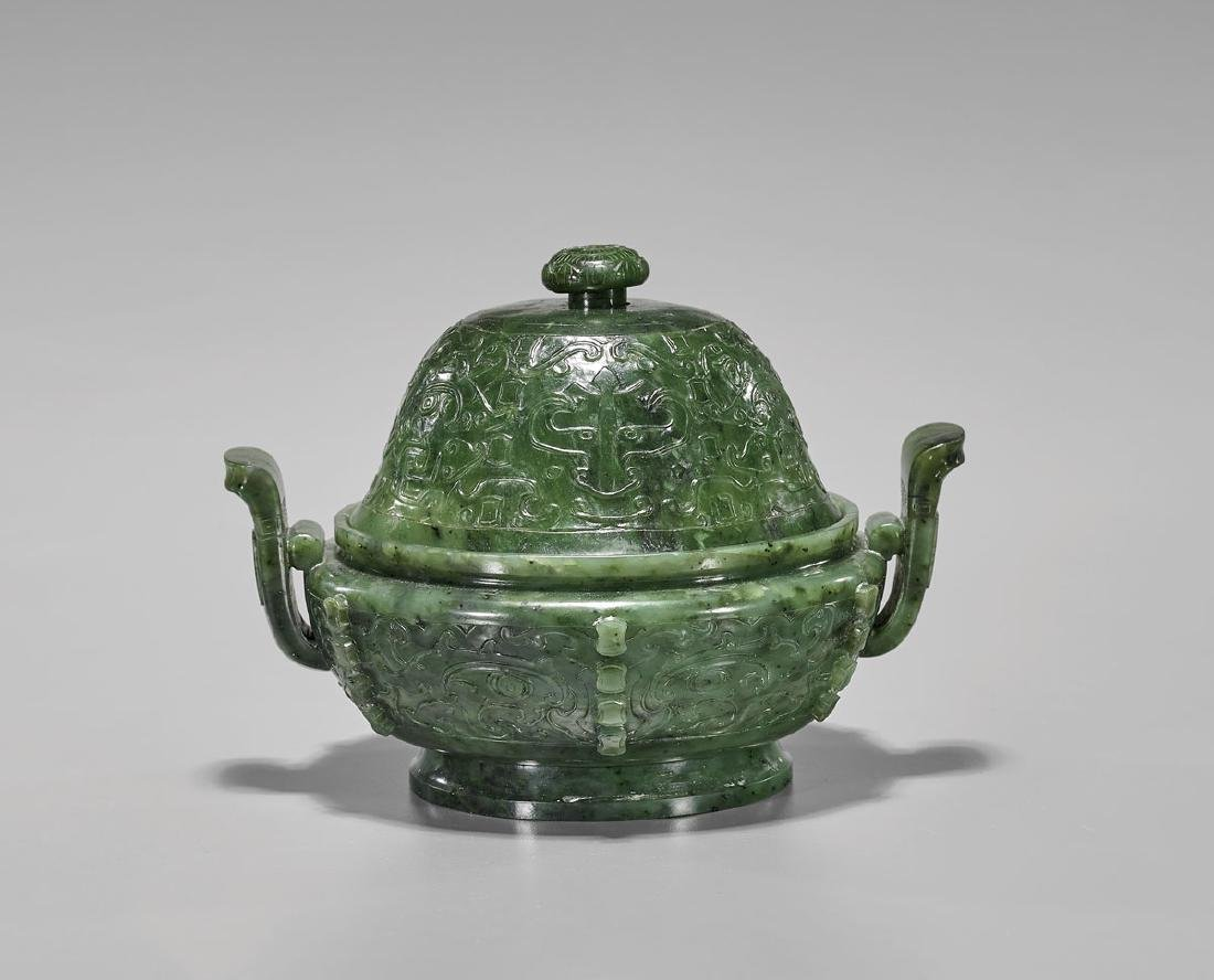QING DYNASTY CARVED SPINACH JADE CENSER